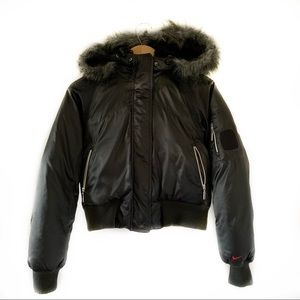 Black Nike Puffer Jacket with Faux Fur Hood